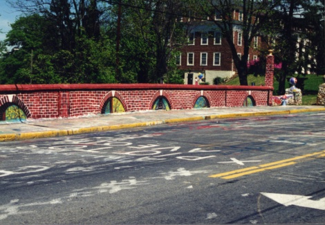 The bridge painted like it's covered in brick (undated).