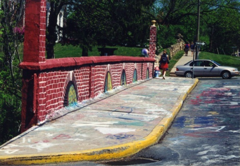 Another angle of the bridge painted like brick (mid-90's?).
