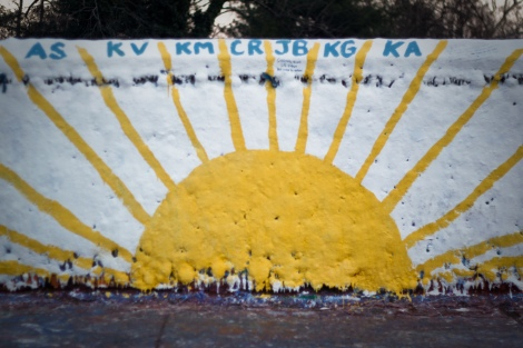 Sunshine on the Casey memorial painting (east side).