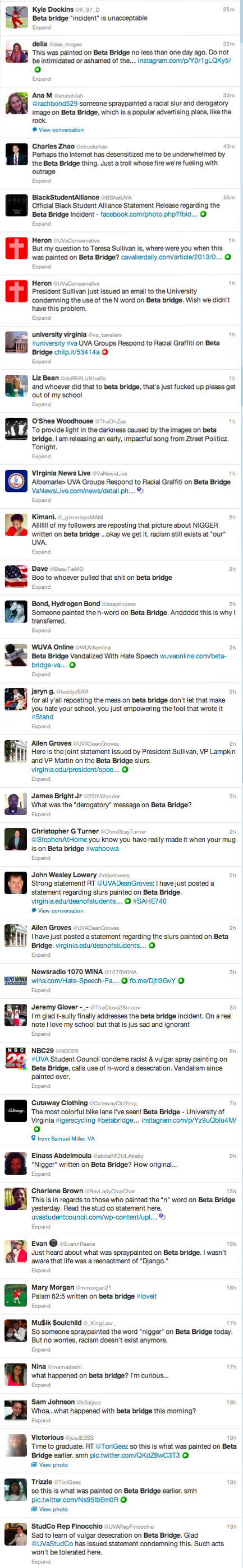 Just a small sampling of the tweets about this incident.
